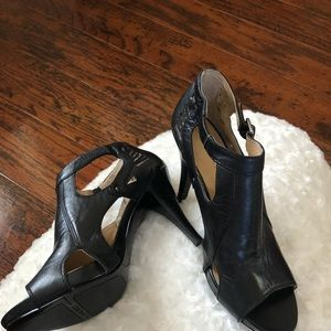 Nine West Open-toe Leather Ankle Heels or booties
